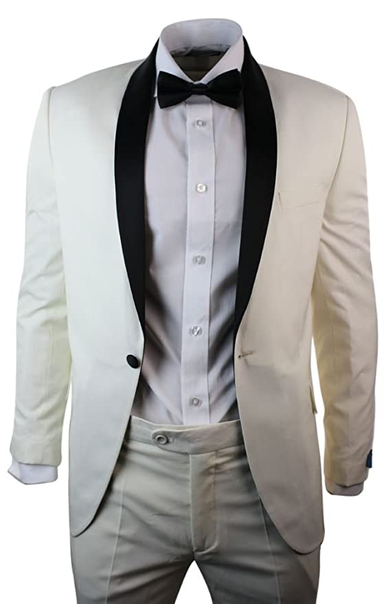 Mens Cream Ivory Tuxedo Dinner Suit Black Shawl Collar 3 Piece ...