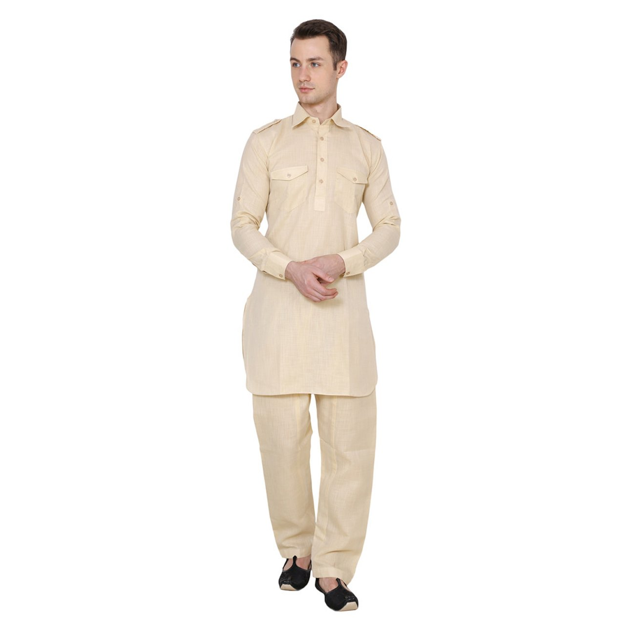 Indian Traditional Festive Mens Linen Pathani Suit Biege