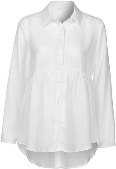Camisa de Mujeres, LANSKIRT Tallas Grandes y Mangas largas de Blusa de Gasa de Solapa Casual para Mujer Chiffon Ladies OL Trabajo Top: Amazon.es: Ropa y accesorios