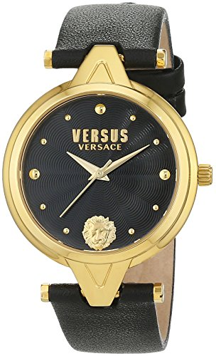Versus by Versace Women's 'V Versus' Quartz Stainless Steel and Leather Casual Watch, Color Black (Model: SCI110016)