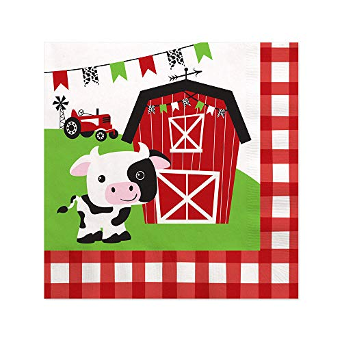 Farm Animals - Barnyard Baby Shower or Birthday Party Cocktail Beverage Napkins (16 Count)