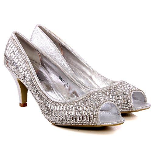 Unze Brillan las sandalias de boda para mujer 'Feliz' Plateado