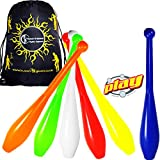 PLAY PRIMA Pro 1 Piece Juggling Clubs Set of 3 (9-Colour-Options) + Flames N Games Travel Bag! UV Trainer Club Juggling Set Ideal For Beginners, Schools & Advanced Jugglers! (Blue/Yellow/Red)