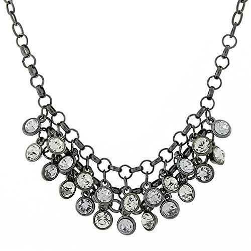 1928 Jewelry Black-Tone Crystal Cluster Bib Necklace, 16