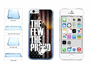 American Flag Proud To Be A Marine Clear Plastic Phone Case Back Cover Apple iPhone 6 Plus (5.5 Inches)