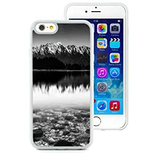 Fashionable And Unique Designed Cover Case For iPhone 6 4.7 Inch TPU With Black And White Snow Mountain Lake_White Phone Case