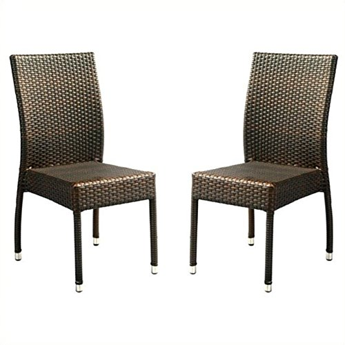 Safavieh Patio Collection Newbury Wicker Stackable Outdoor Chairs, Brown, Set of 2 by Safavieh