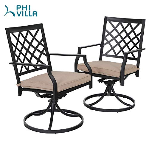 (PHI Villa Outdoor Swivel Chair Patio Furniture Sets with Arm Seat Cushion for Garden Backyard Rocker Chairs - 2 PC)