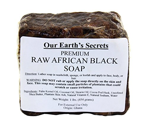 Our Earth's Secrets Raw African Black Soap, 1 lb. (Black Soap Cocoa Butter)
