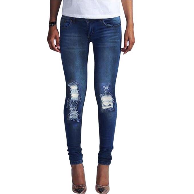LHWY EláStico Jeans De Cintura Alta Mujer, Rotos Tejanos Pantalones Pantalones Vaqueros Skinny LáPiz