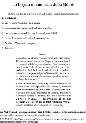 La Logica Matematica Dopo Gödel Italian Edition Giuseppe Raguní