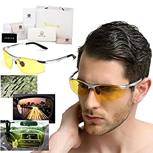 Soxick HD Metal Night Driving Polarized Semi-Rimless Sport Sunglasses for Men Women