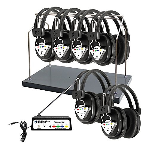 Hamilton Buhl Wireless 6 Person Listening Center with Multi-Frequency Transmitter, Wireless Headphones and Rack by Hamilton Buhl