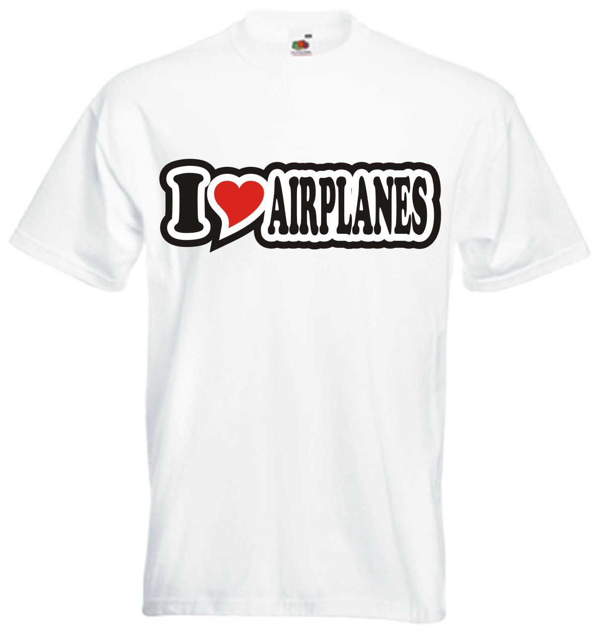I Love Heart T-Shirt Men I LOVE AIRPLANES Black Dragon