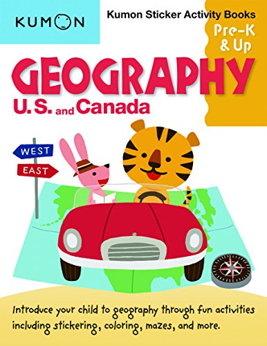 Geography Sticker - Geography: U.S. and Canada Sticker Activity Book (Kumon Sticker Activity Books, Pre-K & Up)