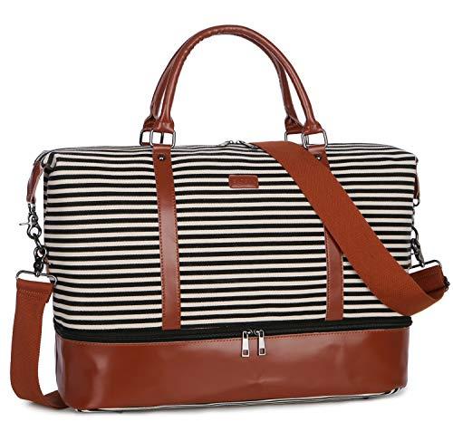 BAOSHA Women Canvas Travel Weekender Overnight Carry-on Duffel Bag (Genuine Leather Black Shoe Compartment)