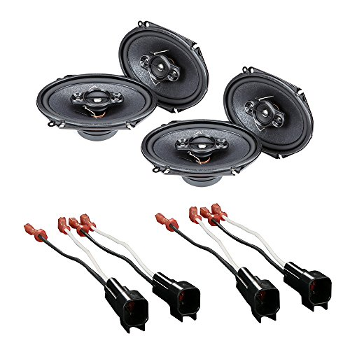 "CAR STEREO 4- WAY SPEAKERS 350W 5"" x 7"" / 6"" x 8"" + SPEAKER ADAPTER FOR SELECT FORD LINCOLN MAZDA AND MERCURY VEHICLES"