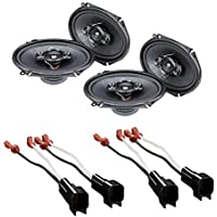 CAR STEREO 4- WAY SPEAKERS 350W 5 x 7 / 6 x 8 + SPEAKER ADAPTER FOR SELECT FORD LINCOLN MAZDA AND MERCURY VEHICLES