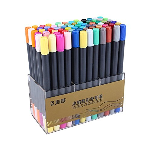 STA Colors Watercolor Pen Yosoo Cartoon Graffiti Art Sketch Markers Drawing Pens Touch Markers for Coloring Crafting and Drawing (24 Colors)