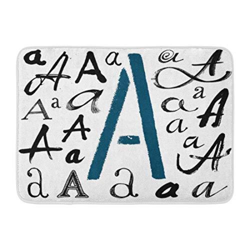 (Emvency Bath Mat Paint Black Stroke Alphabet Letters The Written Brush Spots Blotches ABC Script Bathroom Decor Rug 16