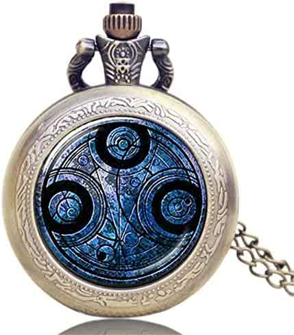 Doctor Who Pocket Watch, Small Round Blue Pocket Watch for Men Women, Pocket Watch Gift