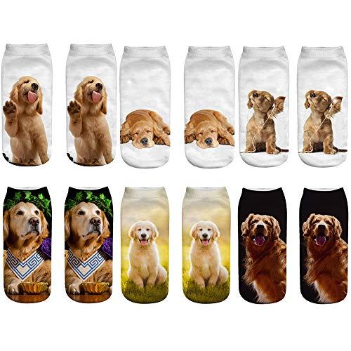 - Unisex's Lovely 3D Golden Retriever Ankle Socks for Young Dog Lover (Golden Retriever, 6)