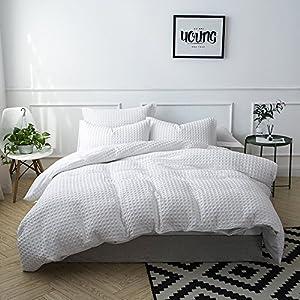 Lausonhouse 100% Cotton Waffle Weave Duvet Cover Set - Queen White