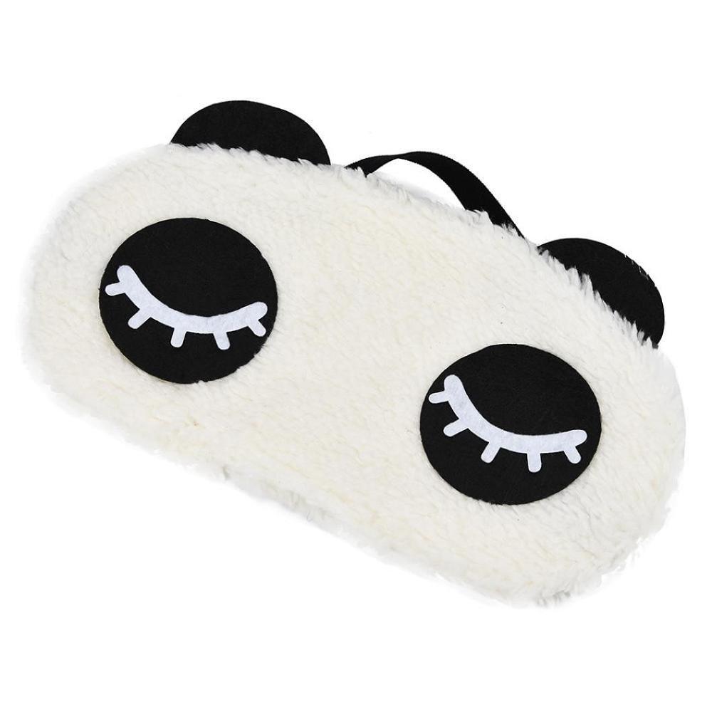 Rameng Oeil de Panda Mignon Coton Masque des Sommeil pour Dormir pour Homme Femme Enfant Insomnie et Voyage D