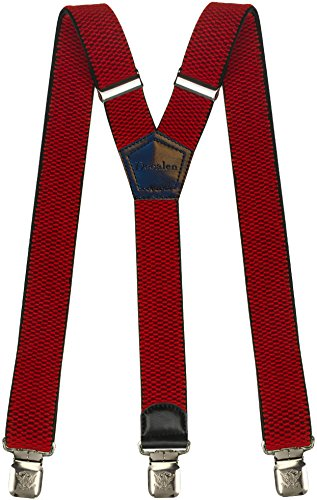 Mens Suspenders Wide Adjustable and Elastic Braces Y Shape with Very Strong Clips - Heavy Duty (Red)