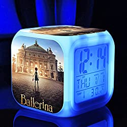 Ballerina the Dreams of becoming Ballerina Felicie Victor Alarm Clock with 7 Changing Colors Cute Cartoon LED Clock (Style 1)