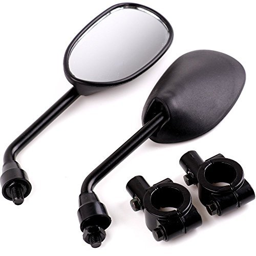 Oalas Black Retro Style Side Rearview Mirror w/ 7/8'' Handlebar Mount 8mm Adaptor For Mountain Bike BMX Bicycle Motorcycle Dirt Bike ATV Cruiser Chopper-Pair