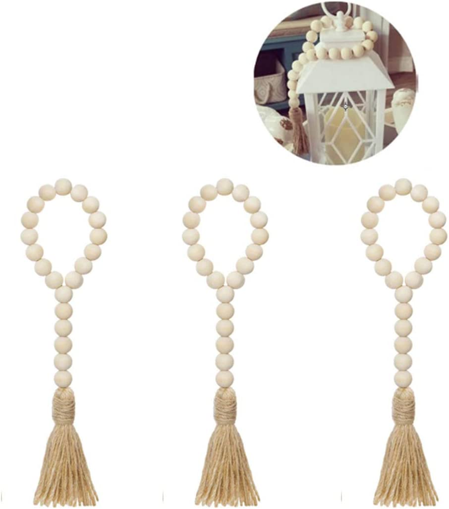 VOSAREA 3 PCS Wood Bead Garland Rustic Farmhouse Beads Decor Prayer Beads with Tassel for Home Car Hanging Wall Decor