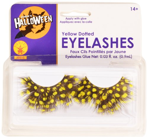 [Rubies Yellow Dotted Eyelashes and Adhesive] (Eye Makeup For Bumble Bee Costume)
