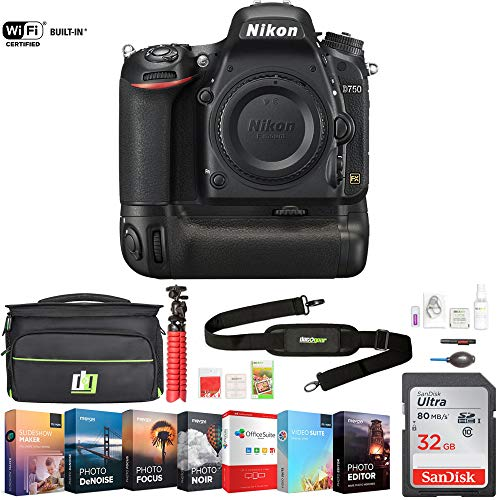 Nikon D750 DSLR 24.3MP HD 1080p FX-Format Digital Camera (1543) - Body Only w/ 32GB Deluxe Battery Grip Bundle Includes, Accessories, Deco Gear Camera Bag and Photo & Video Professional Editing Suite