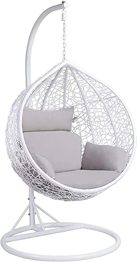 Ratán silla colgante giro puede ser colgado en la terraza jardín, sillas de huevo en interiores y exteriores, con fundas de colchón inferior, blanco, puede sostener 150 kg,White: Amazon.es: Hogar