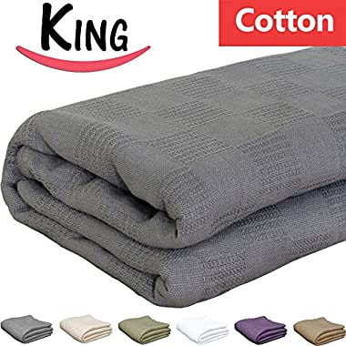 Pure-Cotton Blanket (King-Smoky-Grey) Couch Throw - By Utopia Bedding
