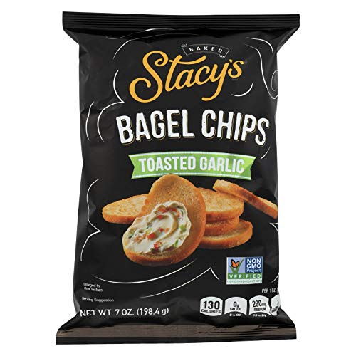 STACY'S PITA CHIPS, Bagel Chips,Toasted Garlic, Pack of 12, Size 7 OZ - No Artificial Ingredients GMO Free ()
