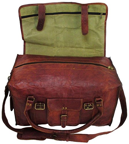 Leather Travel Duffel Bag for Men 21 inch Cabin Gym Sports Weekend...