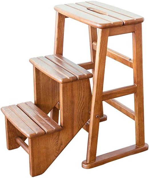 Estante Escaleras de tijera Taburete plegable 3 peldaños Wood & Ndash; Escalera antideslizante compacta y liviana: ideal for el hogar y el lugar de trabajo de la biblioteca: fácil almacenamiento y tran: Amazon.es: