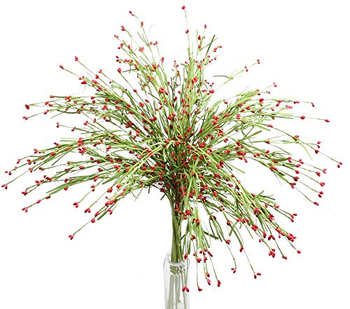 Ivalue Articifical Jasmine Flowers Red for Decoration Faux Greenery Leaves Pip Berry Stems Fake Flowers for Arrangement (10, Red)