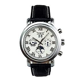 GuTe Moon Phase Roman Pro Automatic Mechanical Wrist Watch Luminous Hands Silver White