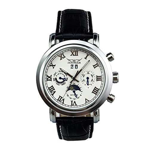 GuTe Moon Phase Roman Pro Automatic Mechanical Wrist Watch Luminous Hands Silver White