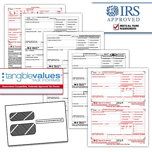 Tangible Values W-2 Laser Forms (6-Part) Kit with Envelopes for 25 Employees (2019) (6 Part W2 Forms)