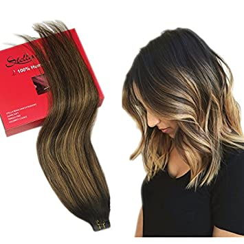 Stella Reina 50g 20 pieces Dark Roots Ombre Copper Blonde Highlighted  Balayage Dip Dye Tape In Hair