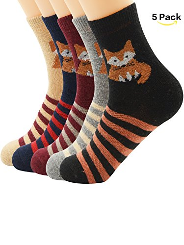 Dancing Bear Head Costume (Zando Thin Breathable Casual Crew Warm Soft Cabin Socks for Women Teens Winter Autumn Knitting Printed Wool Sock 3-5 Pack 5 Pack Fox One Size)