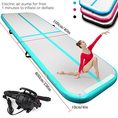 FBSPORT 9.84ft/13.12ft/16.4ft/19.68ft air Track Tumbling mat Inflatable Gymnastics airtrack with Electric Air Pump for Practice Gymnastics, Tumbling,Parkour, Home Floor and Martial Arts from FBSPORT