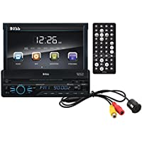BOSS Audio BVB9967RC Single Din, Touchscreen, Bluetooth, DVD/CD/MP3/USB/SD AM/FM Car Stereo, 7 Inch Digital LCD Monitor, Detachable Front Panel, Wireless Remote, Rear Flush Mount Camera Included