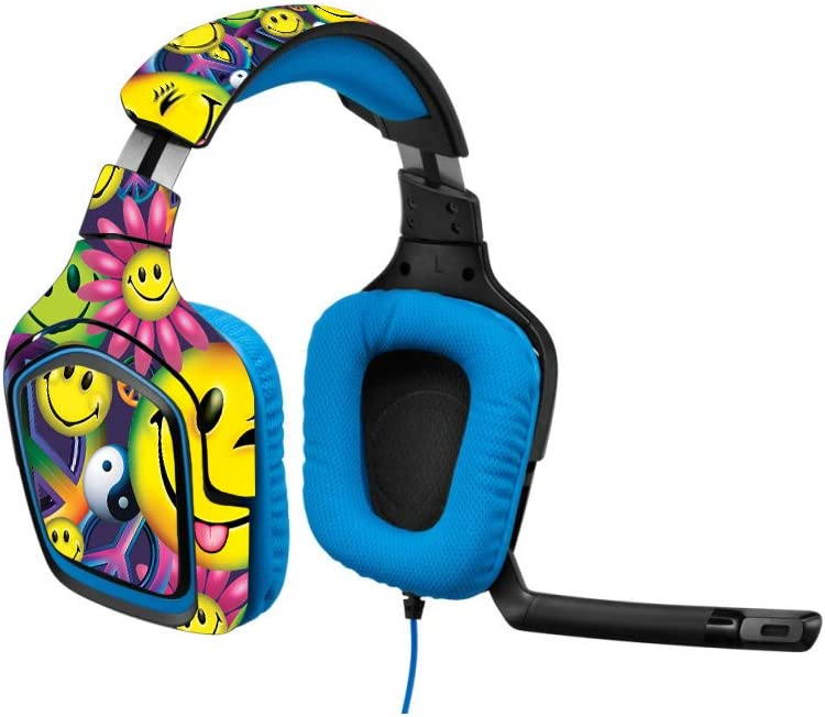 MightySkins Skin Compatible with Logitech G430 Gaming Headset Peace Smile Durable Easy to Apply and Unique Vinyl Decal wrap Cover Made in The USA Protective Remove and Change Styles