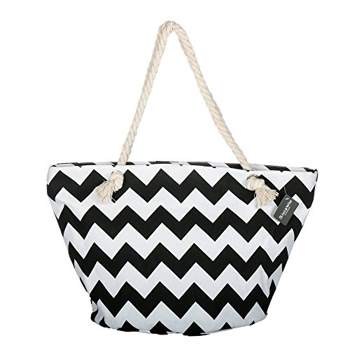 Large Cotton Beach Bag Tote ,RiscaWin Zipper Top Rope Handles Beach Bag(Black Chevron)