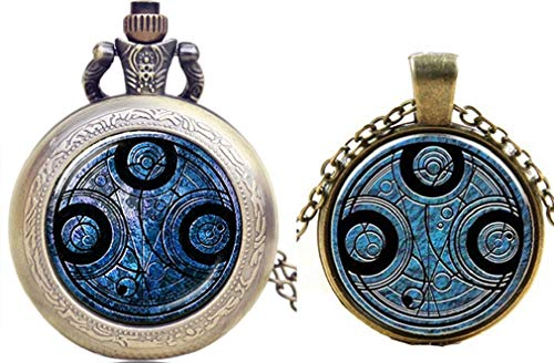 G Inspired Doctor Who Gallifreyan Time Lord Pocket Watch Necklace + Pendant Necklace Charms from g